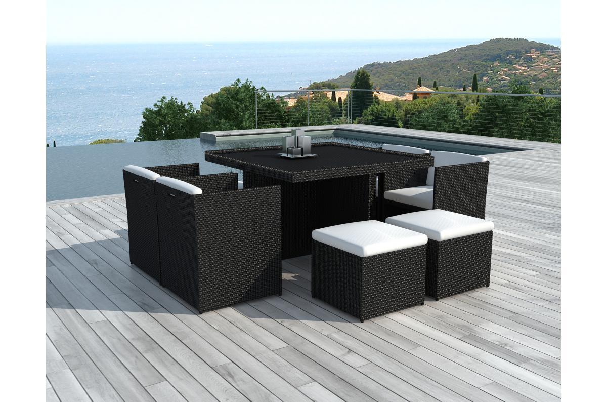 Table Repas Outdoor + 4 Fauteuils + 4 Poufs En Résine Tressée Marron Zaya  Plus D's avec Salon De Jardin Pas Cher En Resine