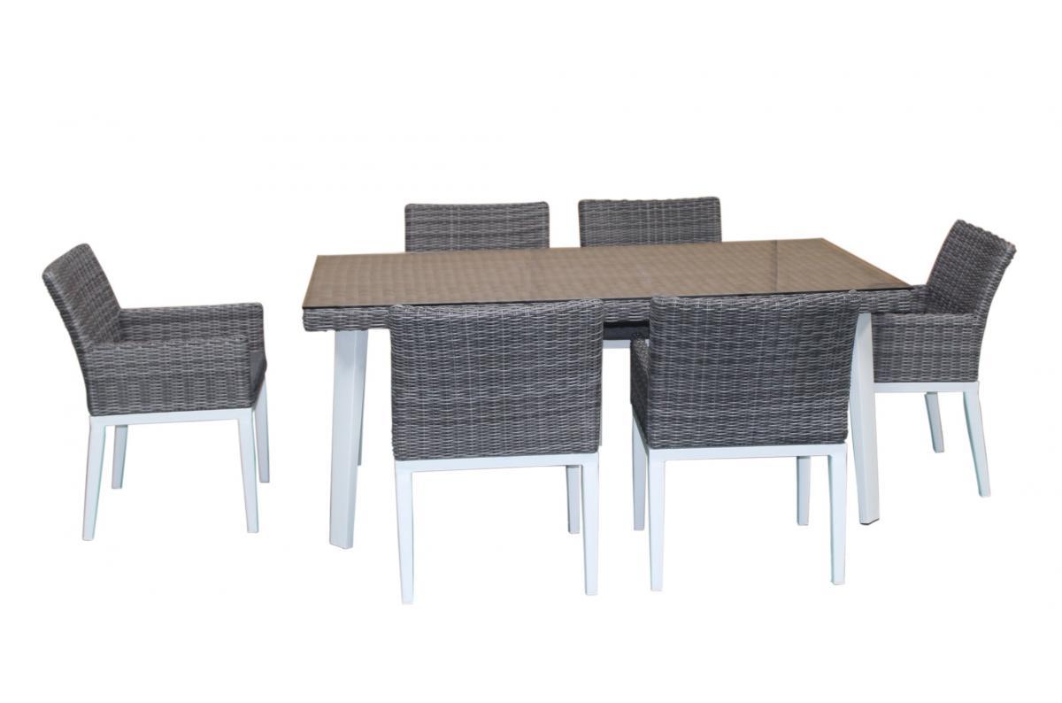 Table Repas Outdoor + 6 Fauteuils En Résine Et Aluminium Adela Plus D's avec Salon De Jardin En Resine Pas Cher
