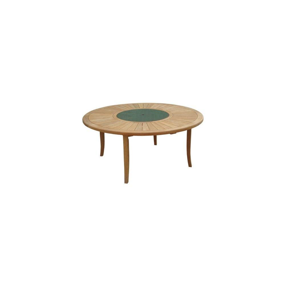 Table Ronde Brehat 155 Cm - Bois Teck Fsc - Proloisirs concernant Table De Jardin Ronde En Bois