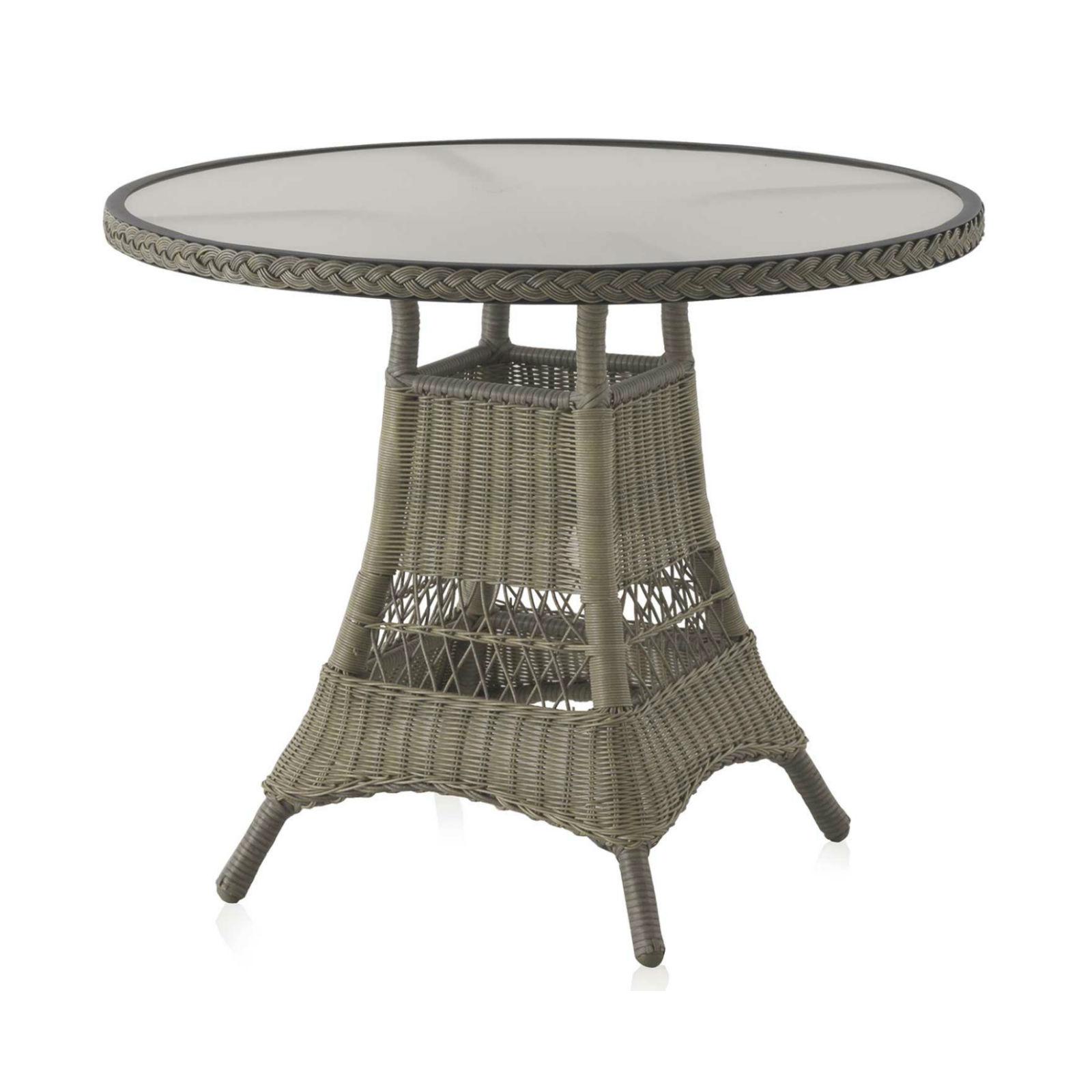Table Ronde De Jardin 90 Cm Aluminium Et Résine Tressée - Brin D'ouest serapportantà Petite Table Ronde De Jardin