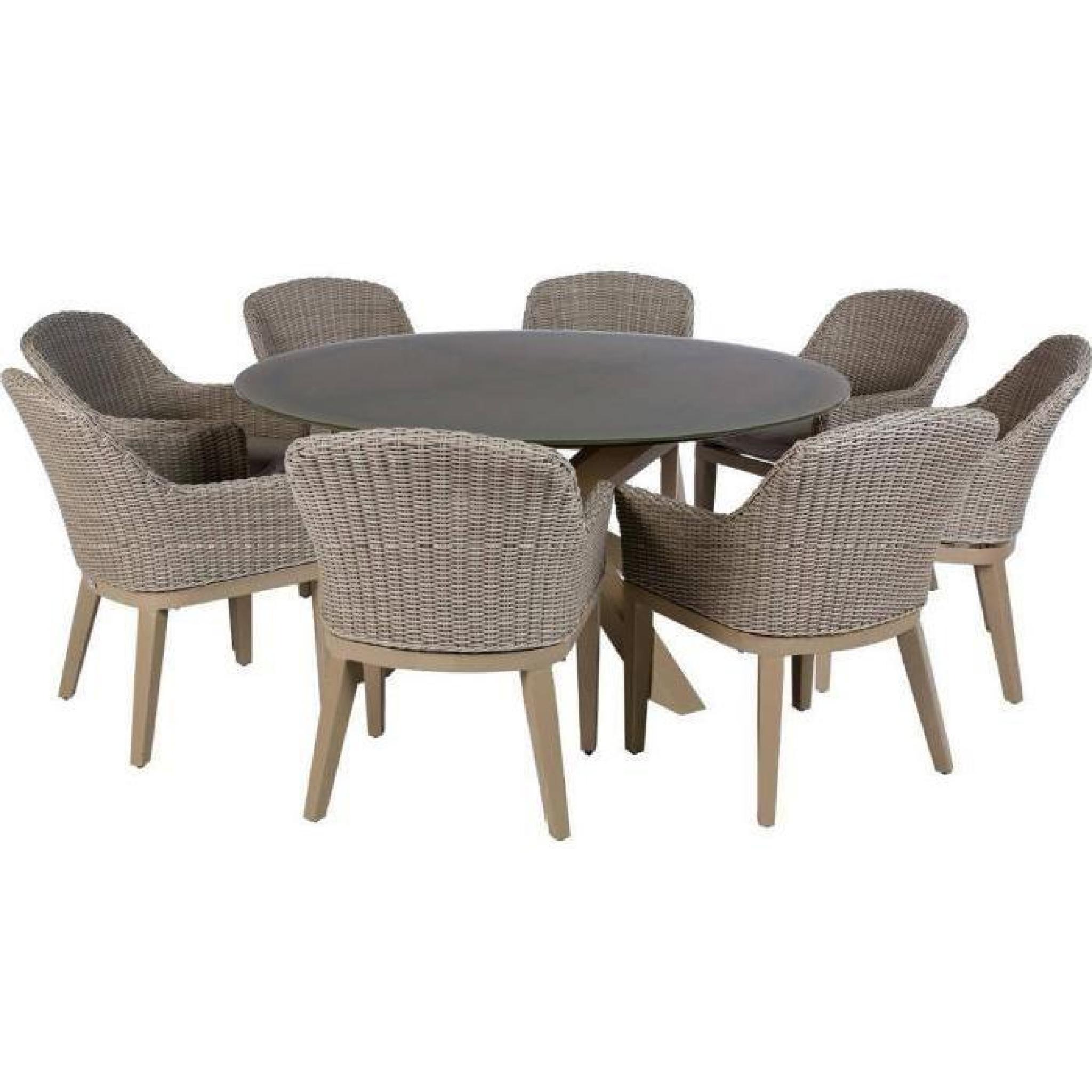Table Ronde De Jardin En Aluminium Coloris Taupe - Dim : D 160 X H 75Cm pour Table Jardin Ronde Pas Cher