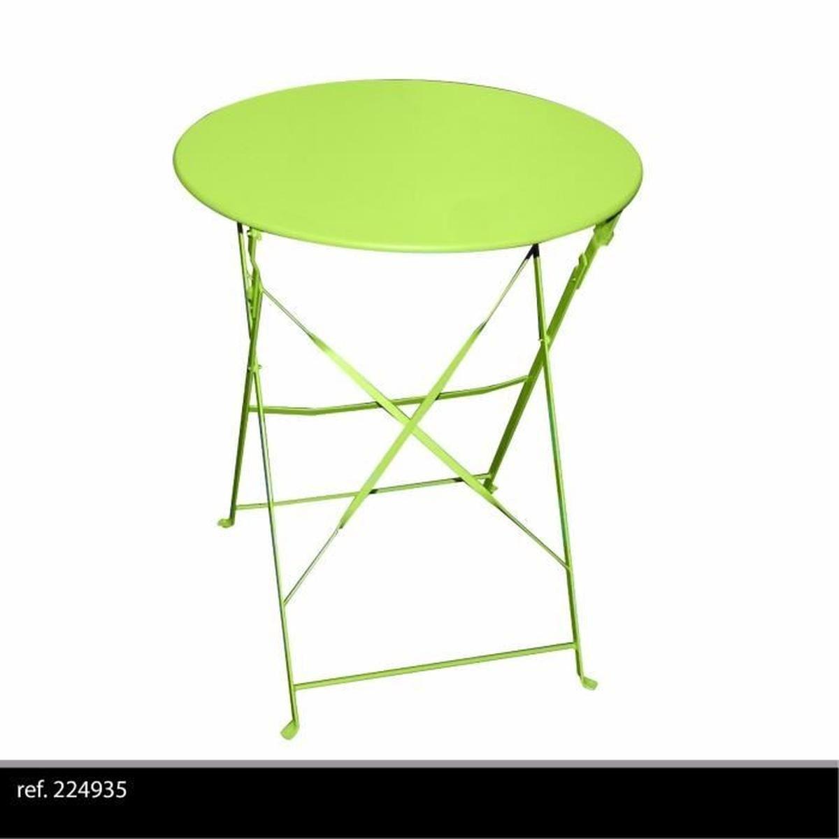 Table Ronde De Jardin En Metal Bistro Cafe Salon Pliante Verte Pliable  Exterieur concernant Table De Jardin Verte