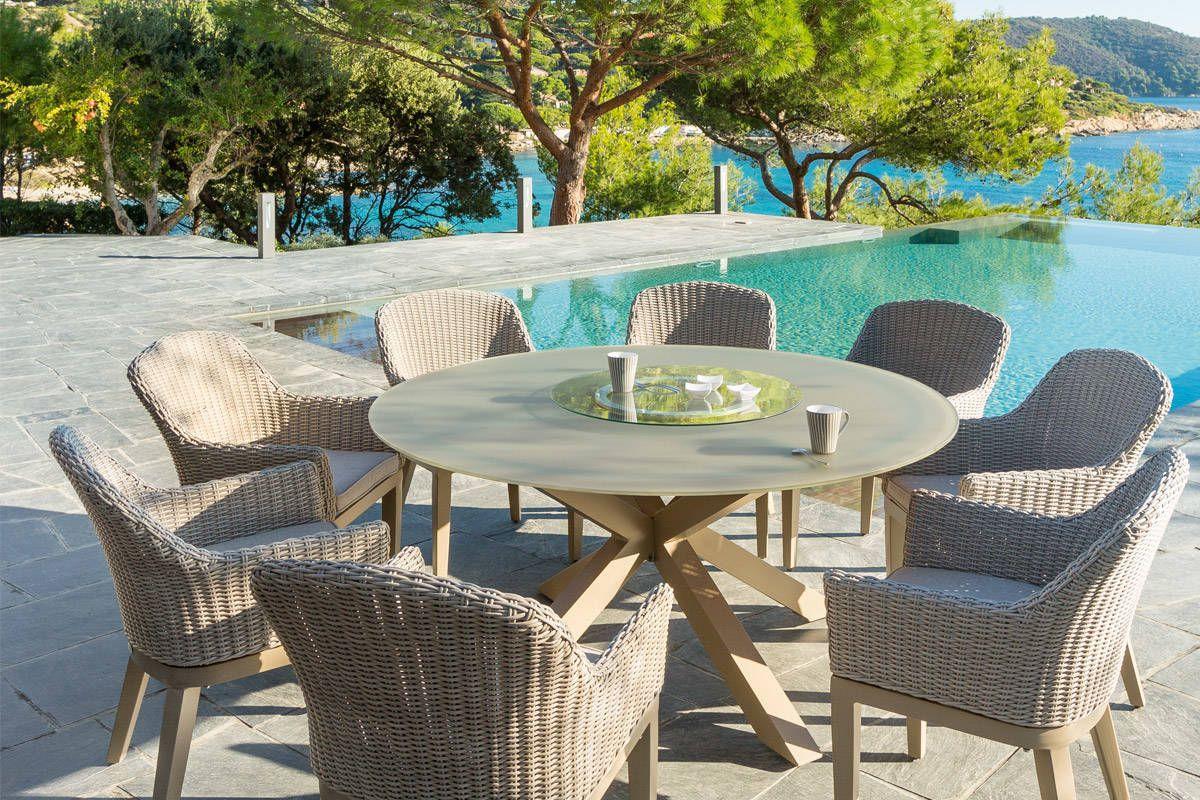 Table Ronde Dubaï Taupe 8 Places - Aluminium, Verre Trempé ... pour Table De Jardin Ronde Pas Cher
