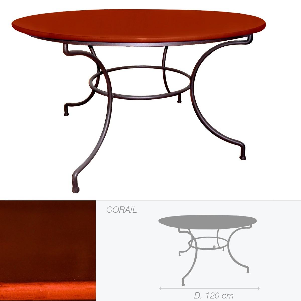 Table Ronde En Pierre De Lave Émaillée D.120 Corail pour Table De Jardin En Pierre De Lave