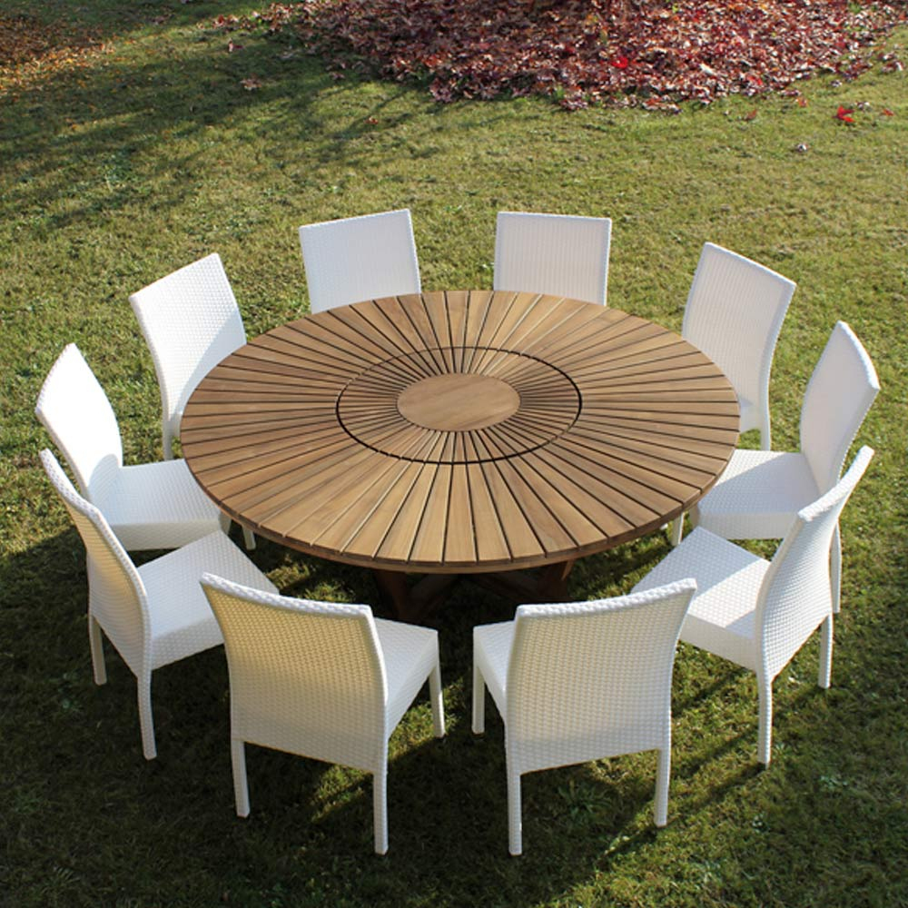 Table Ronde En Teck Real Table, Pour Le Jardin Et La Maison pour Table De Jardin Ronde En Bois