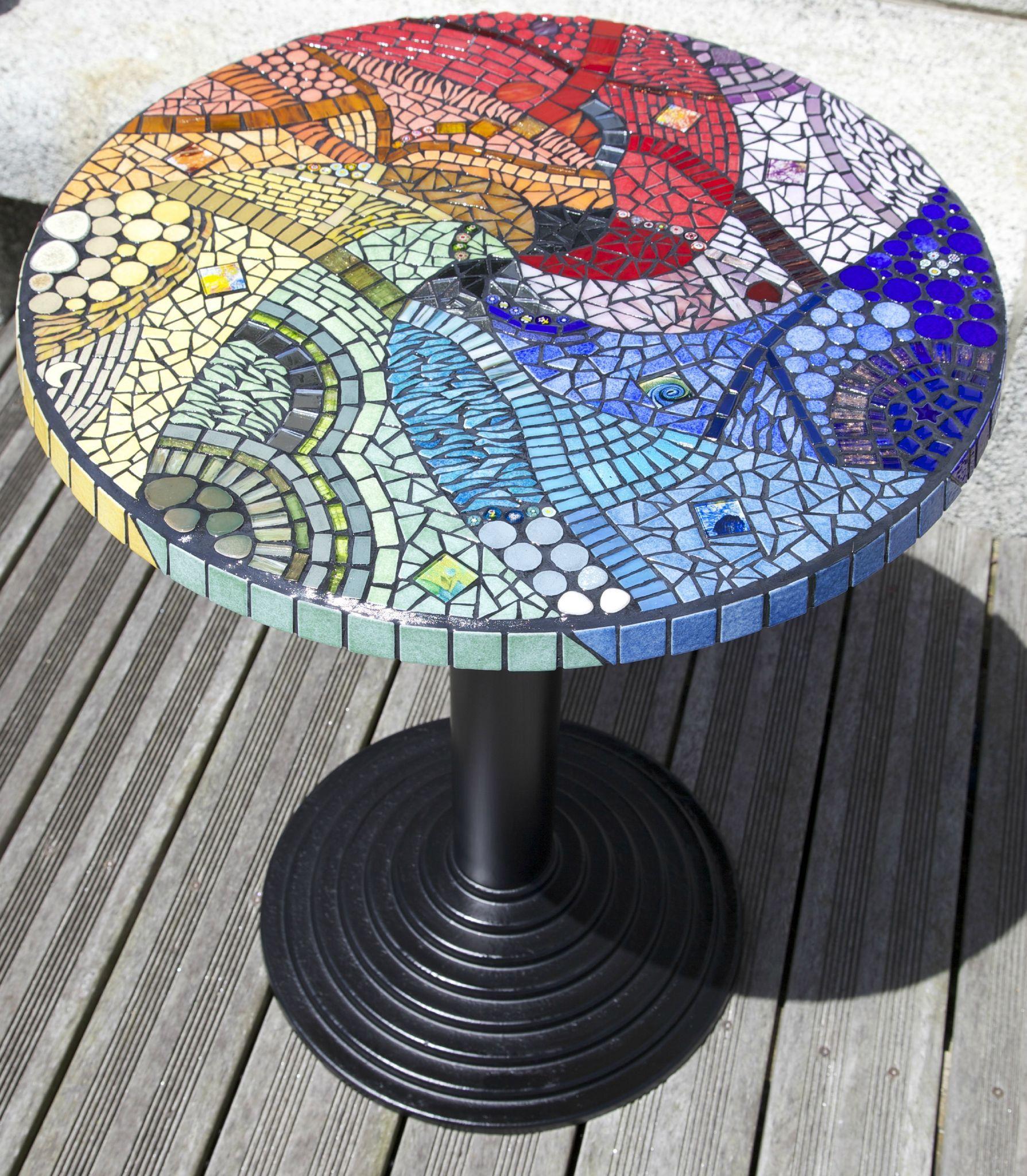 Table Ronde Mosaique | Table Mosaique, Mosaique Et Carrelage ... serapportantà Table De Jardin En Carrelage