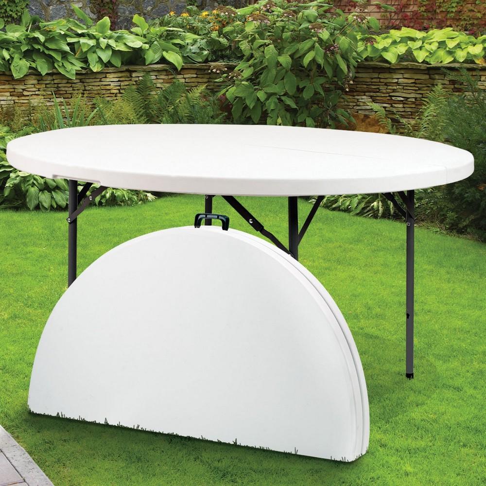 Table Ronde Pliante En Résine - Ø 122 Cm - Maison Futée destiné Petite Table Ronde De Jardin
