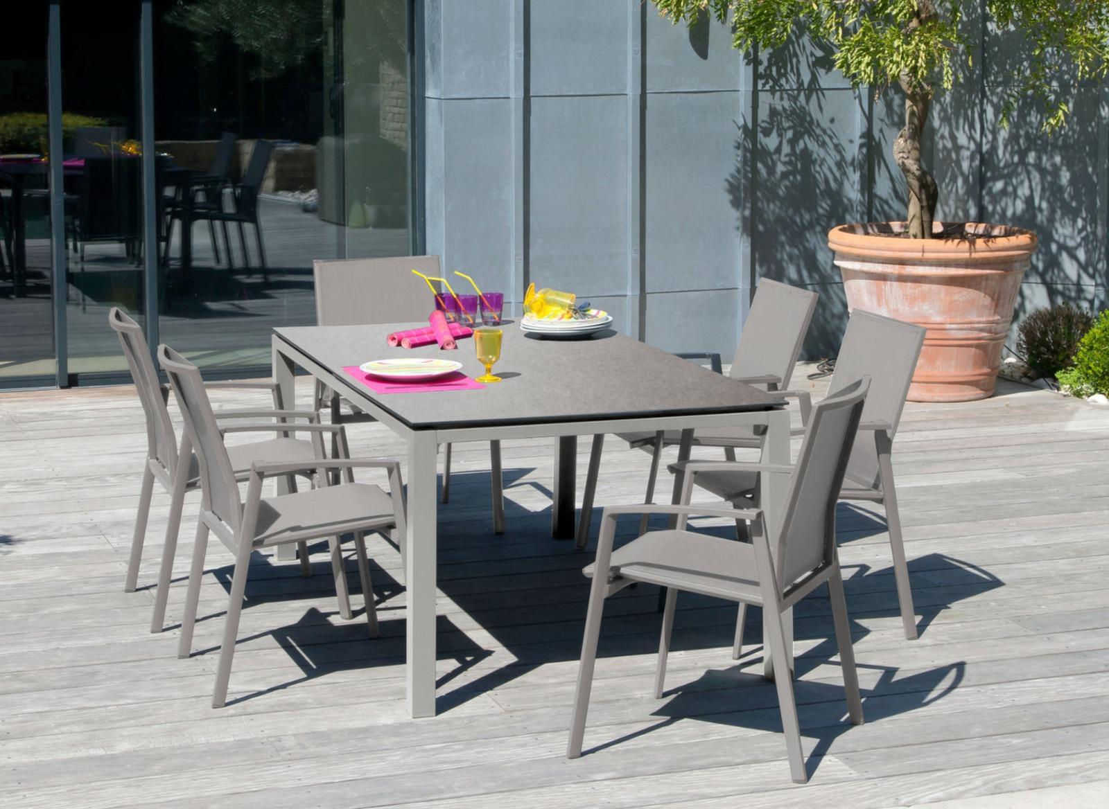 Table Stoneo 180 Cm Plateau Trespa® pour Table De Jardin Aluminium Jardiland