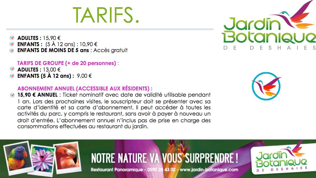 Tarifs - Jardin Botanique Deshaies encequiconcerne Prix Location Jardin