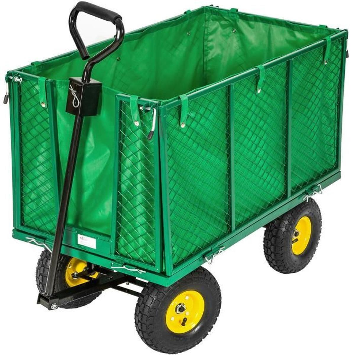 Tectake Chariot De Jardin + Bâche Charge Maximum 544 Kg Vert ... concernant Chariot De Jardin 4 Roues