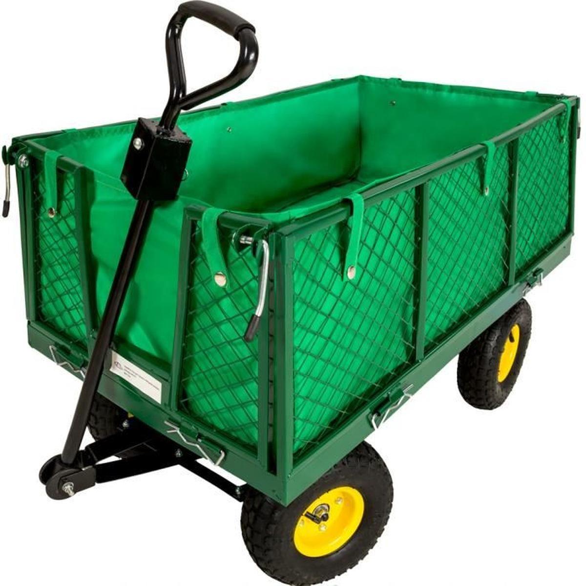Tectake Chariot De Jardin + Bâche Charge Maximum 550 Kg Vert ... pour Chariot De Jardin 4 Roues