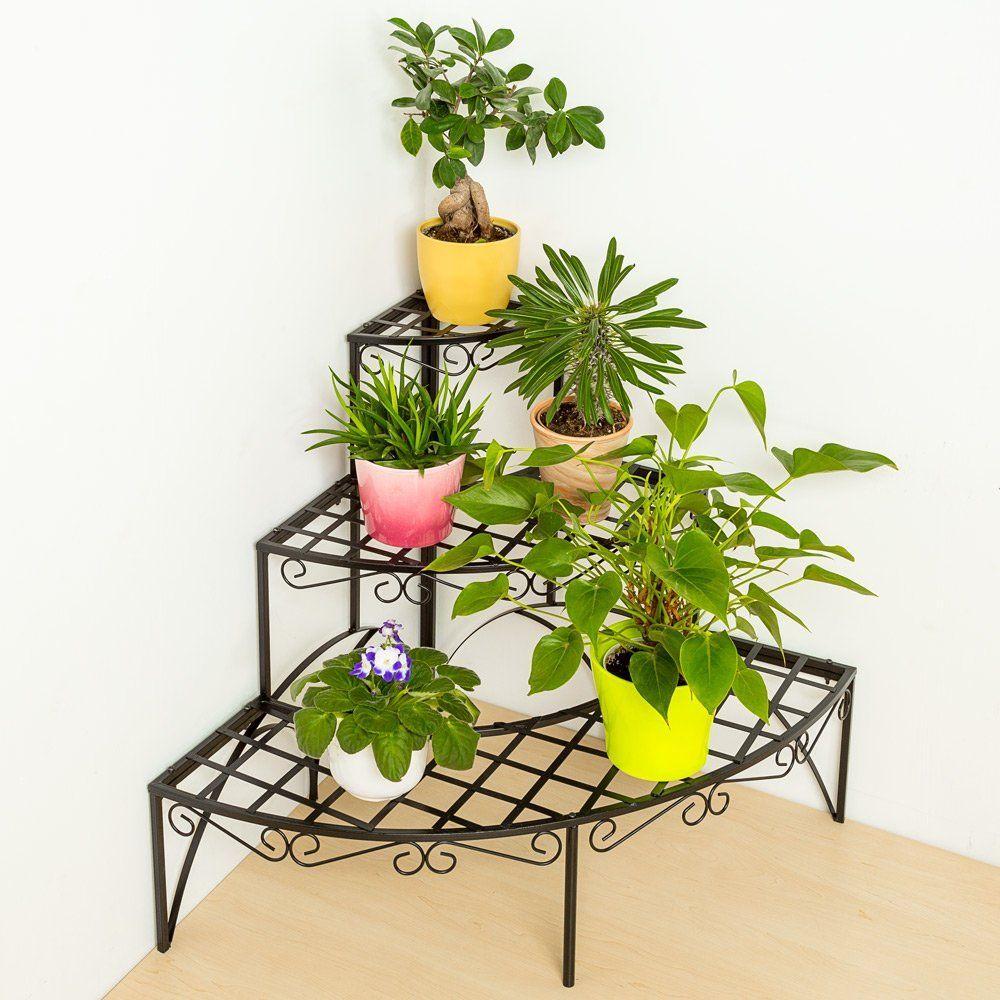 Tectake Etagère De Jardin Pour Plantes Escalier En Fer 3 ... destiné Etageres Jardin Pour Plantes