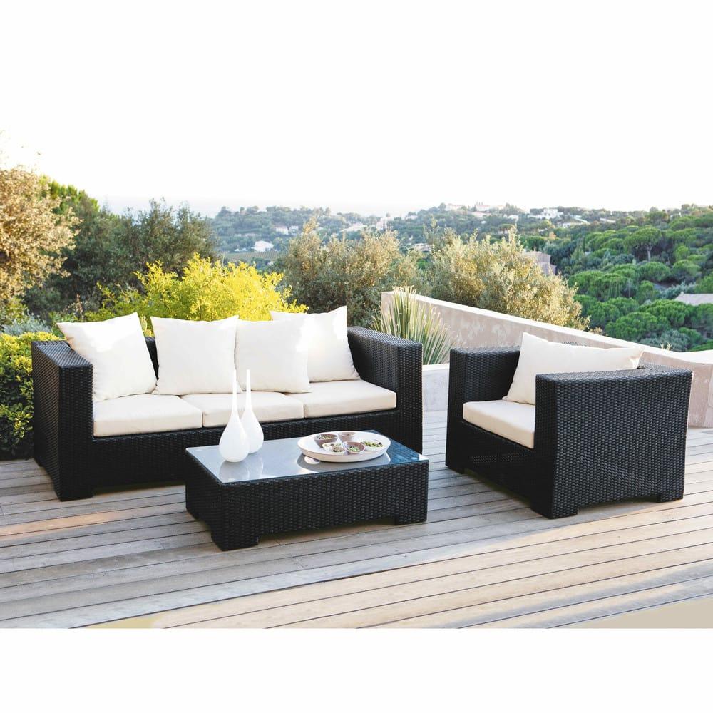 Tempered Glass And Wicker Garden Coffee Table In Black W 100Cm destiné Maison Du Monde Table De Jardin