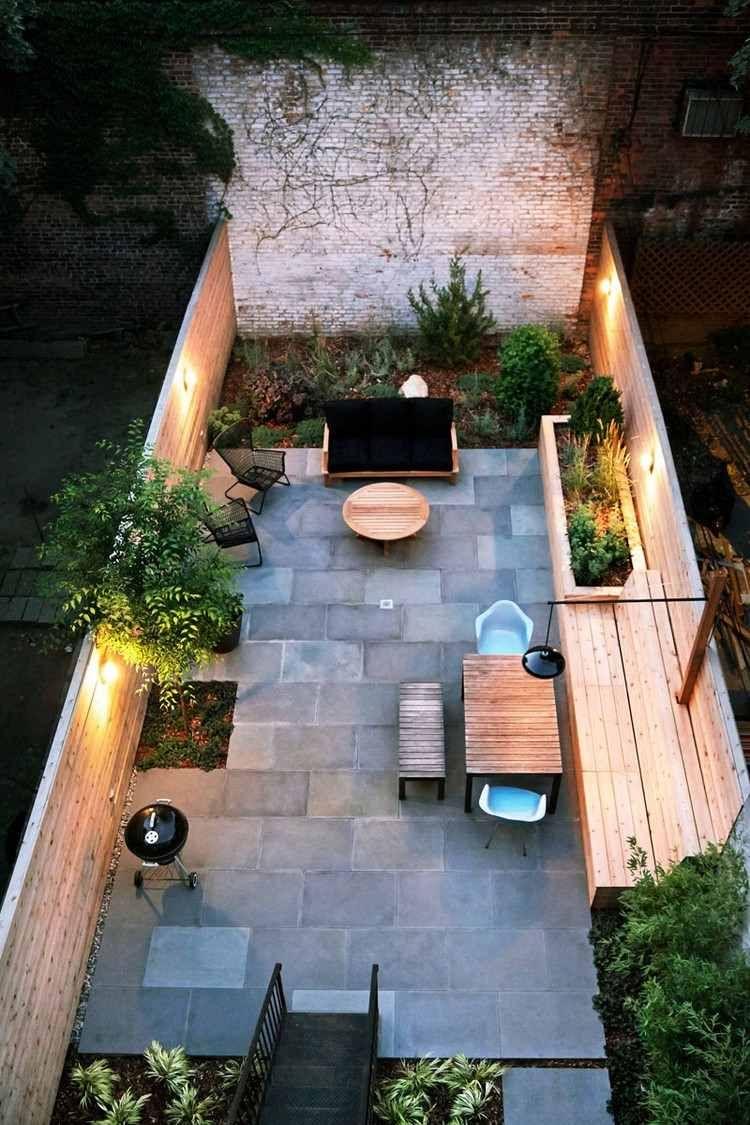 Terrasse De Jardin Moderne - Planification Et Conception ... pour Table De Jardin En Carrelage