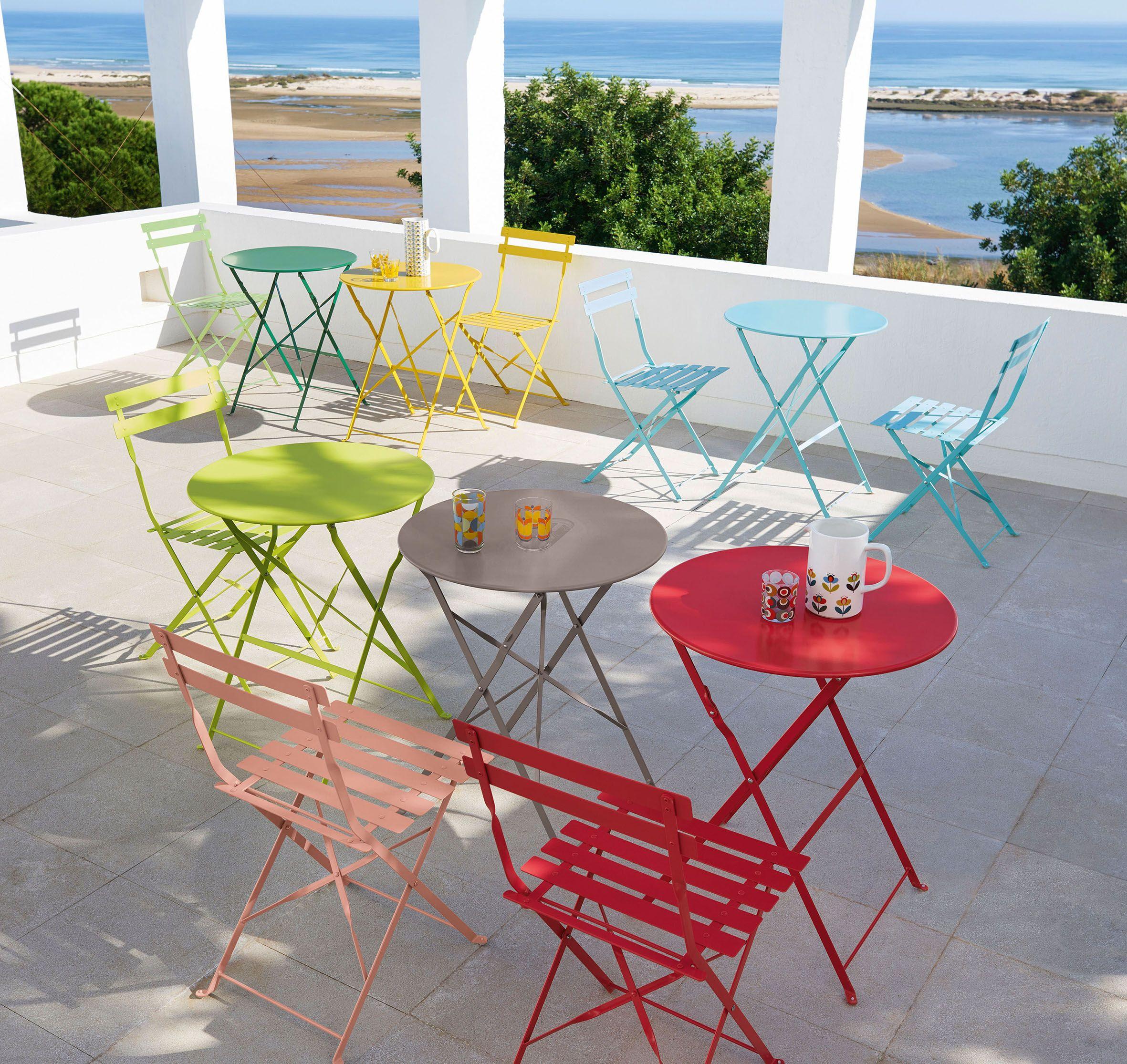Terrasse Haute En Couleur Multicolore Meuble De Jardin Table ... tout Salon De Jardin En Fer Coloré