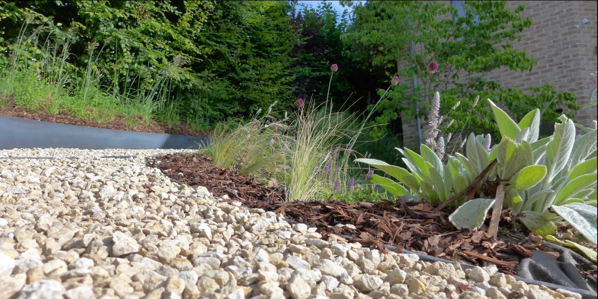 Terrasse Jardin Naturel Écologique Bois Pierre Métal Wallon destiné Dolomie Jardin
