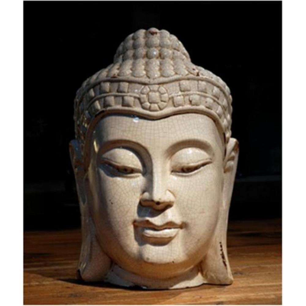 Tête De Bouddha En Céramique Blanche H.46 Cm intérieur Tete De Bouddha Pour Jardin