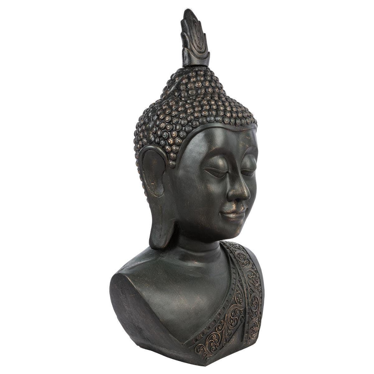 Tête De Bouddha En Fibre Grise Patinée 56X45Xh113Cm | Statue ... à Tete De Bouddha Pour Jardin