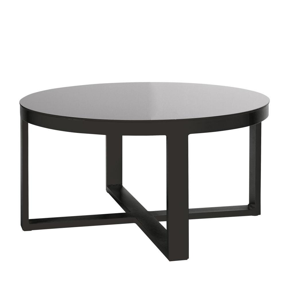 Thetis Aluminium Table Ronde Et Jardin Verre Basse De Trempé ... encequiconcerne Table De Jardin Aluminium Et Verre