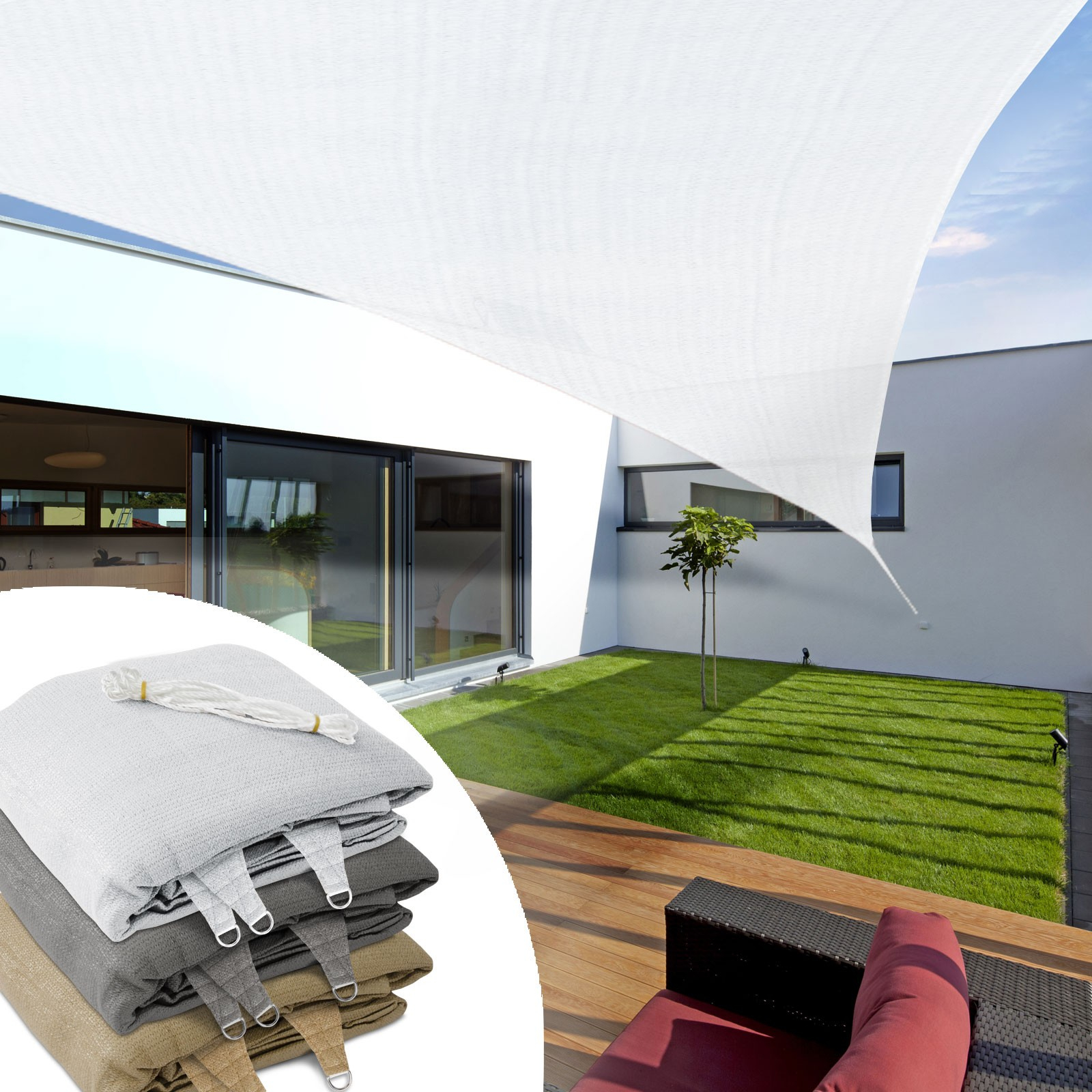 Toiles Tendues Pour Jardin, Balcon, Terrasse - Protection Anti Uv pour Toile Tendu Jardin