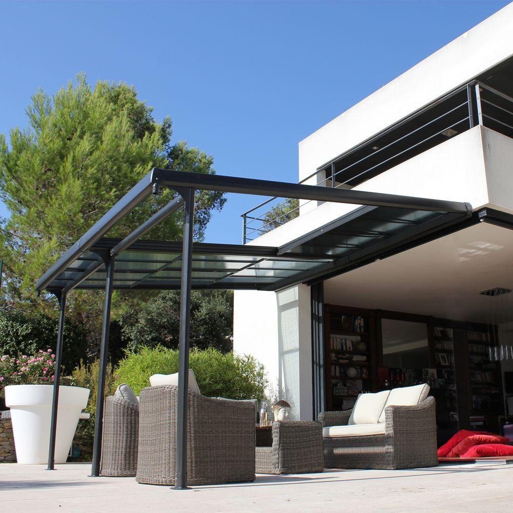 Tonnelle Adossée Aluminium + Toit Polycarbonate 4X3,5M Azura serapportantà Tonnelle De Jardin Adossée