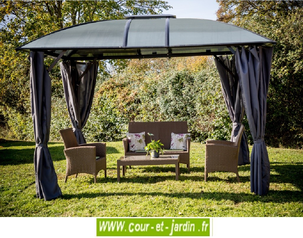 Tonnelle Alu 300 X 360 - Tonnelles - Auvents - Cour Et Jardin destiné Prix D Une Tonnelle De Jardin