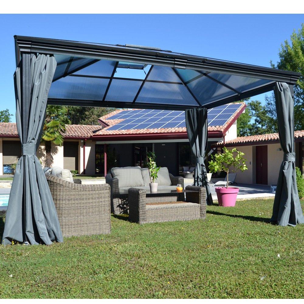 Tonnelle Autoportante Aluminium + Toit Polycarbonate 3X3,6M Jade intérieur Tonnelle De Jardin En Bois