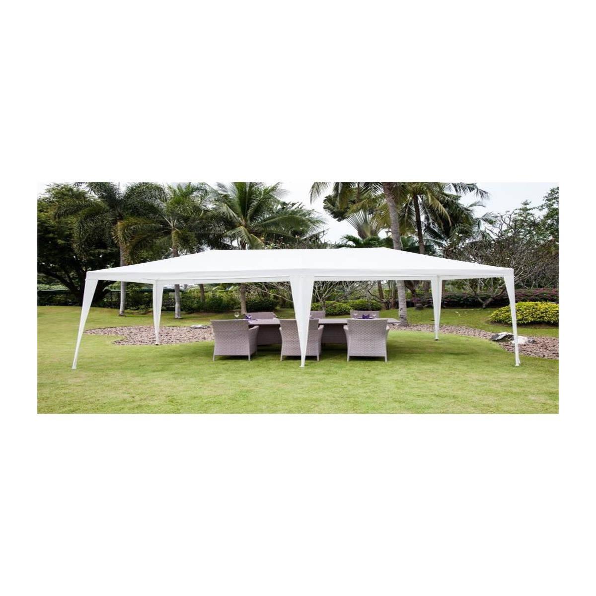 Tonnelle De Jardin Adda - En Acier , Tonnelle De Jardin Adda - En Acier  Toile Polyester - 3 X 6 M - Blanc Tati.fr à Prix D Une Tonnelle De Jardin