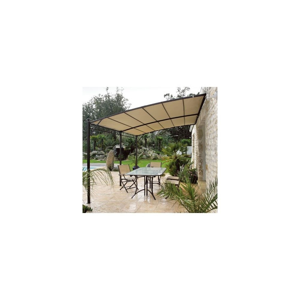 Tonnelle De Jardin Adossée 3X4M En Acier Avec Toile 230Gr/m² concernant Tonnelle De Jardin Adossée