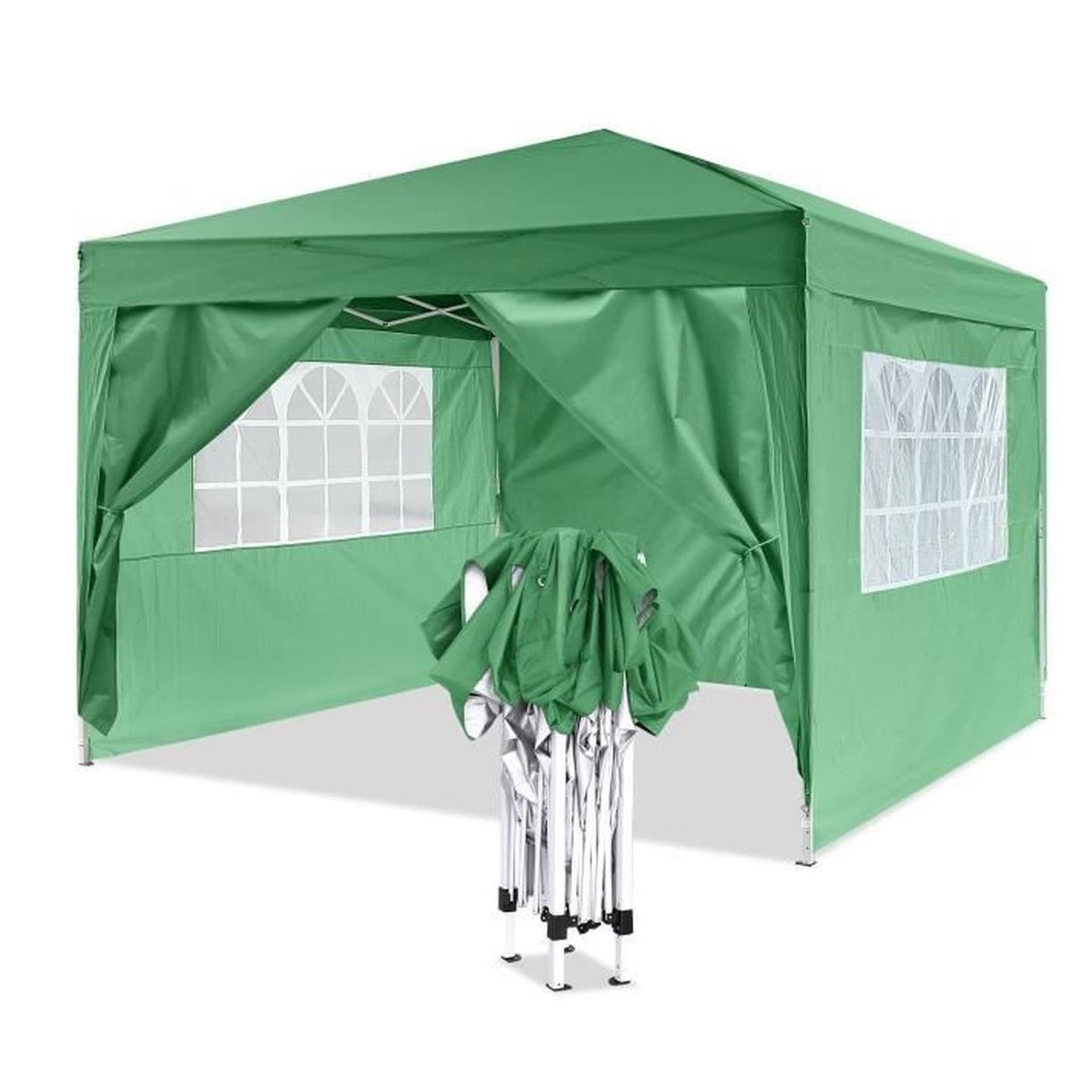 Tonnelle De Jardin - Chapiteau Pliable - 3X3 M - Vert - En D'aluminium  Toile Polyester Avec Sac De Transport intérieur Tonnelle De Jardin 3X3