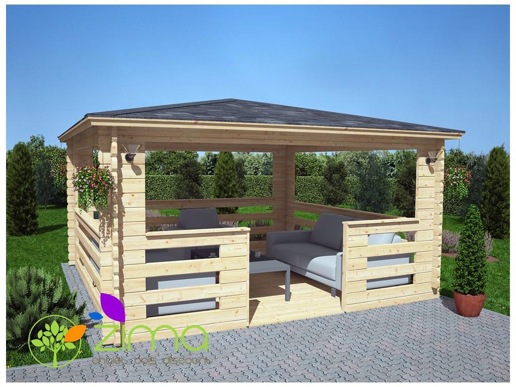 Tonnelle En Bois Massif 16M² 4X4 44Mm intérieur Tonnelle De Jardin En Bois