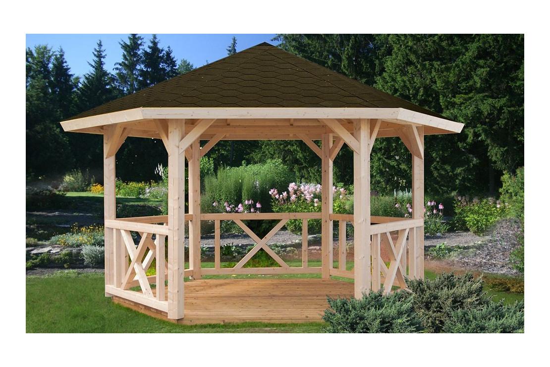 Tonnelle Gloriette 1 - 10M² Intérieur - Poteaux 14 X 14 tout Tonnelle De Jardin En Bois