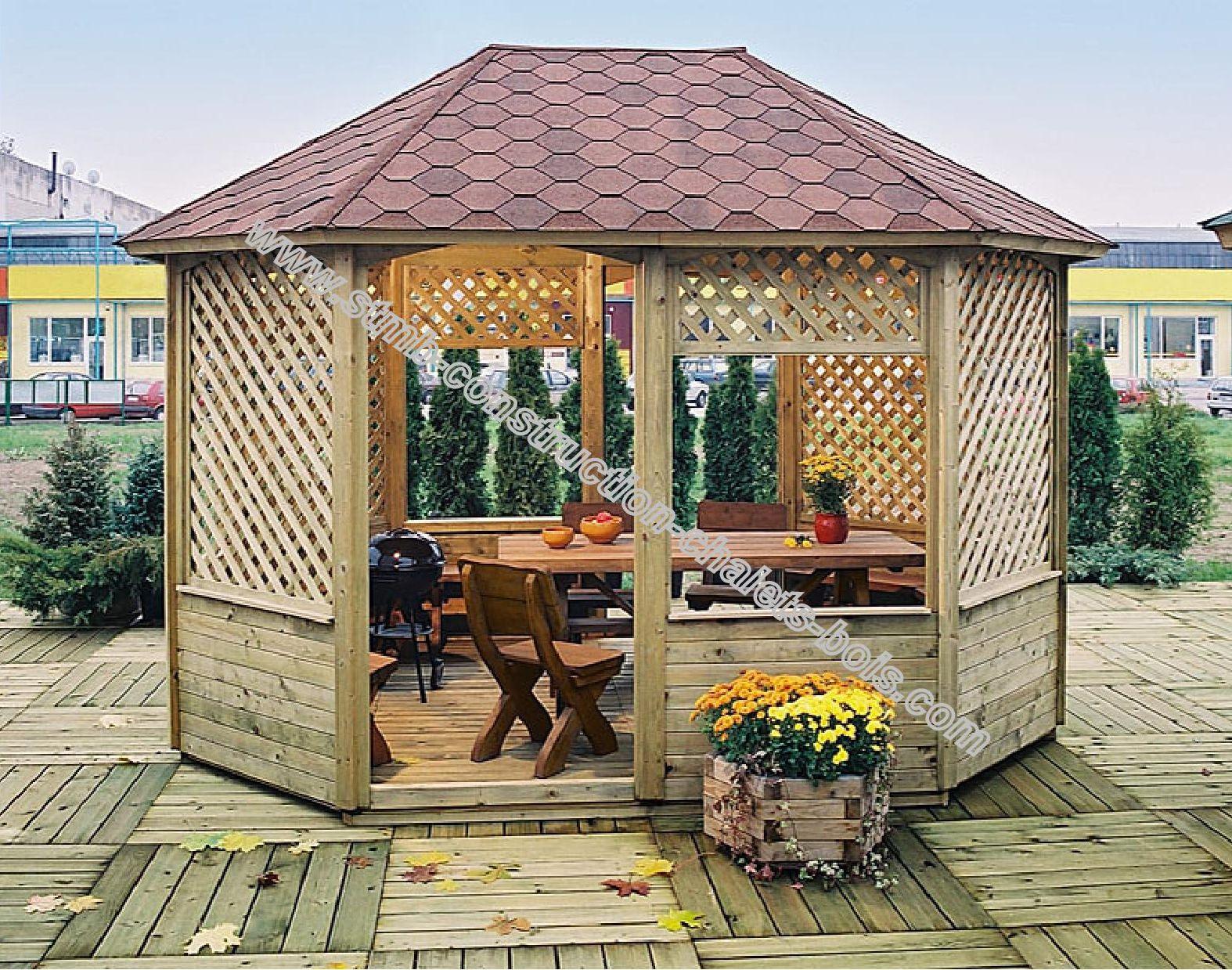Tonnelle Gloriette Bois Traitée Autoclave Faucon Livrée En Kit destiné Kiosque De Jardin En Bois Pas Cher
