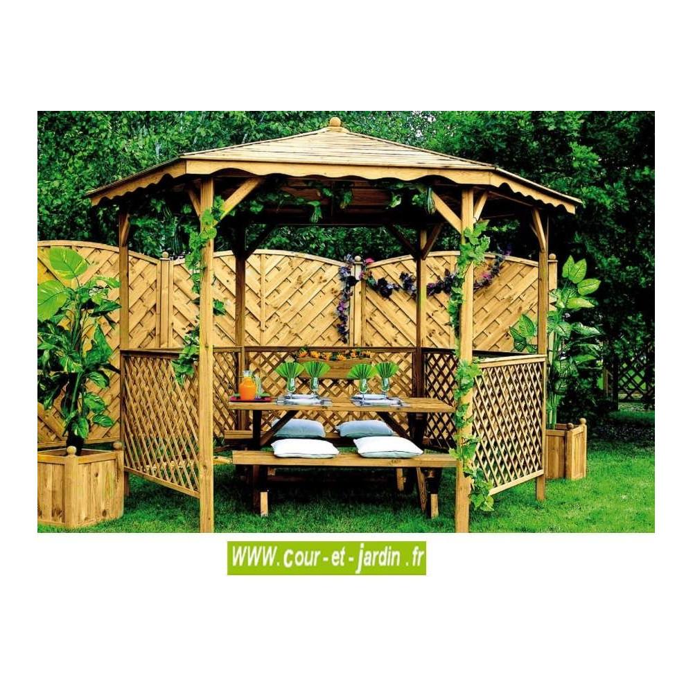 Tonnelle Hexagonale Bois - Tonnelles - Auvents - Cour Et Jardin intérieur Tonnelle De Jardin En Bois