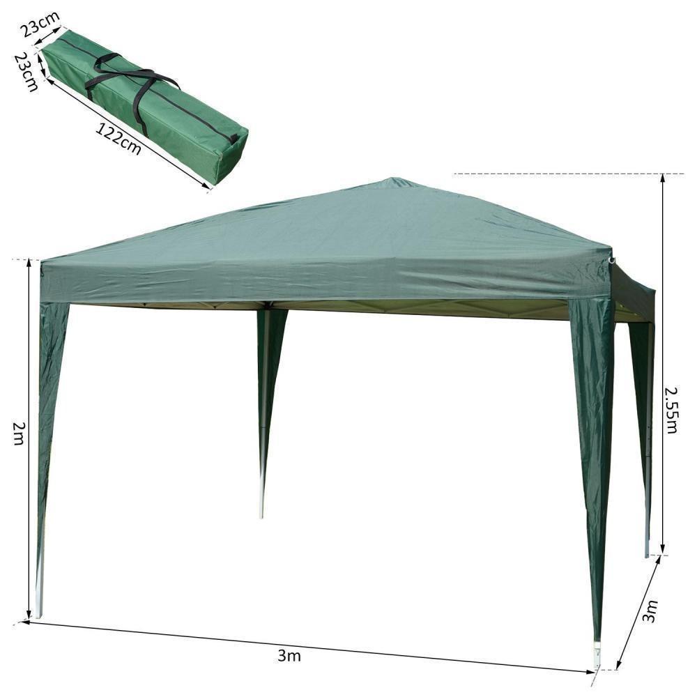 Tonnelle Tente De Réception Barnum Pop-Up Pliant 3 X 3 X 2,55 M 4 Parois  Amovibles + Sac De Transport Vert dedans Tonnelle De Jardin Gifi