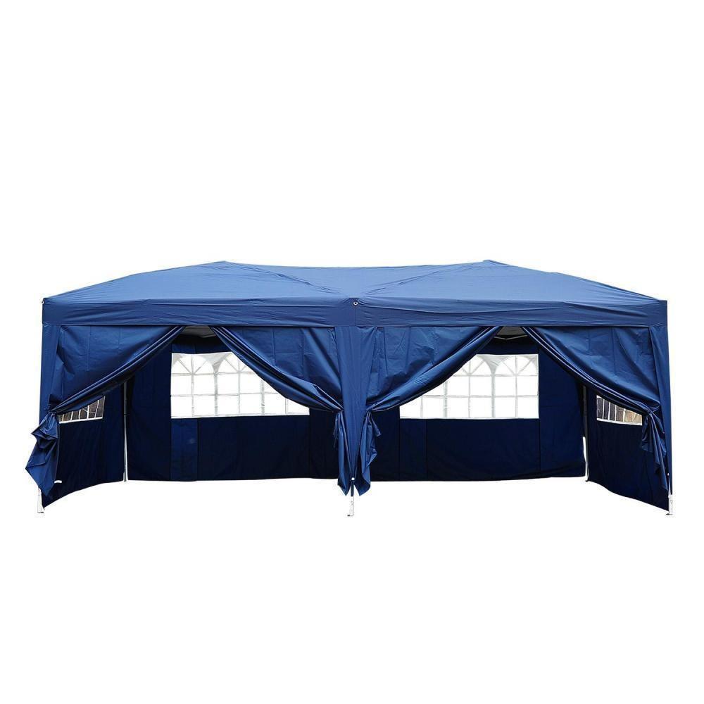 Tonnelle Tente De Reception Pliante Pavillon Chapiteau Barnum 3 X 6 M Bleu  Cote Demontables concernant Tente De Jardin Pliante