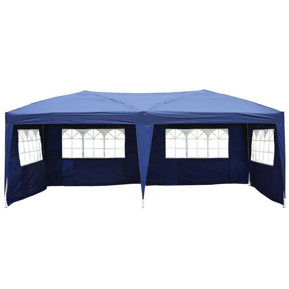 Tonnelle Tente De Reception Pliante Pavillon Chapiteau Barnum 3 X 6 M Bleu  Cotes Demontables à Tonnel De Jardin