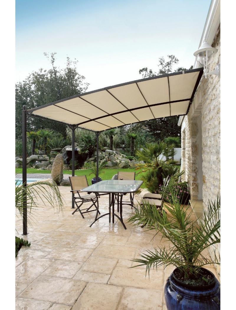 Tonnelle Vision Adossée Gris Royal 3X4 M concernant Tonnelle De Jardin Carrefour