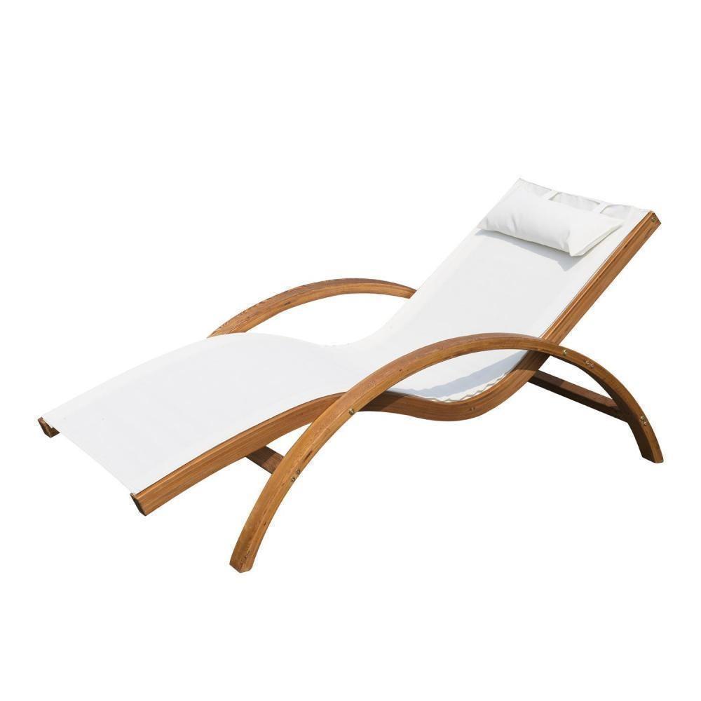 Transat Chaise Longue Design Style Tropical Bois Massif Naturel Coloris  Beige Blanc intérieur Gifi Transat Jardin