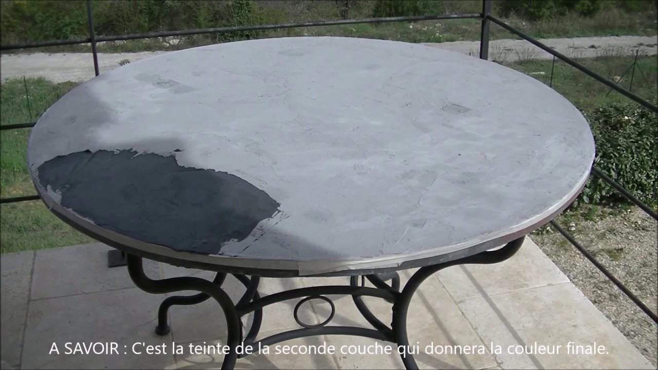 Transformation D'une Table Marocaine En Béton Ciré tout Table Carrelee Jardin