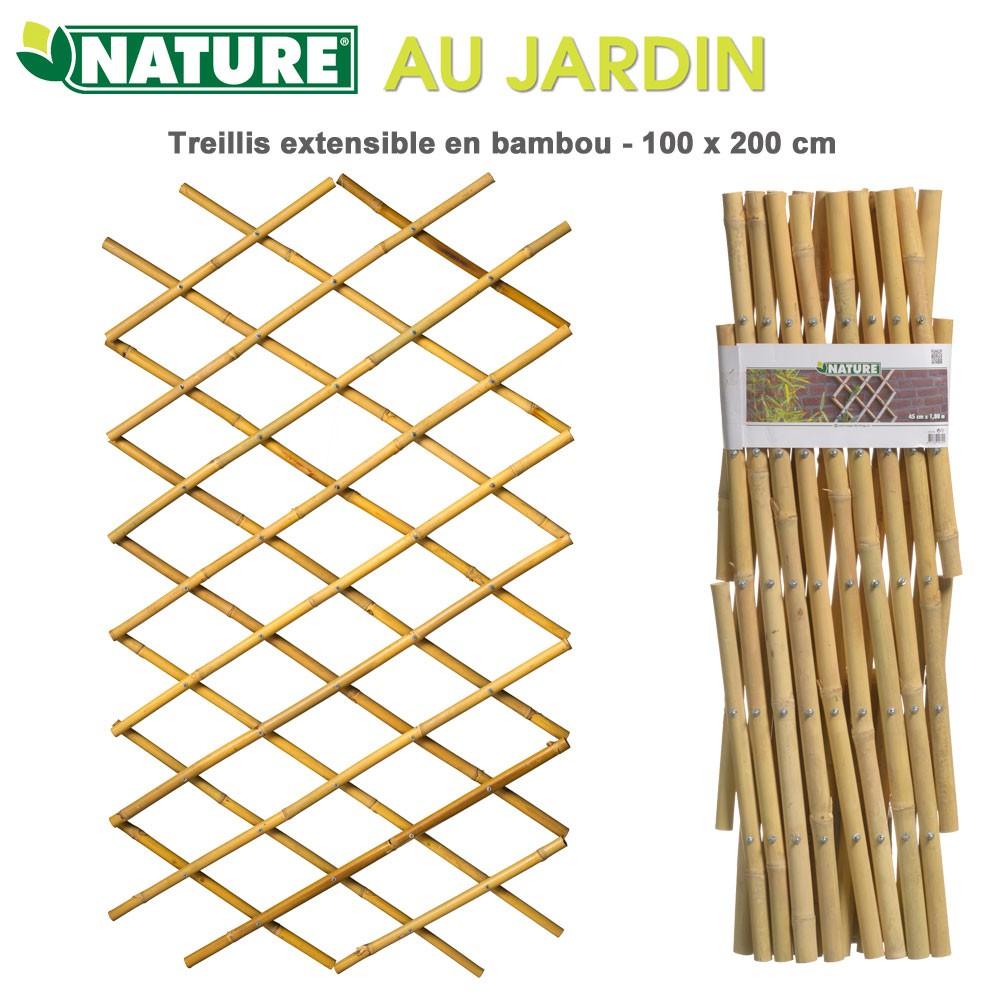 Treillis En Bambou À Croisillons Extensibles 100 X 200 Cm pour Croisillon Jardin