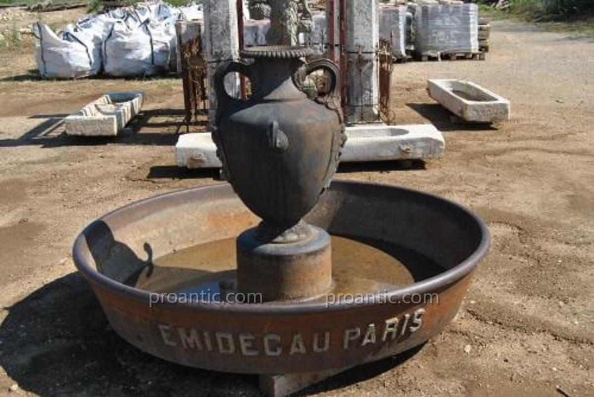 Très Rare Fontaine En Fonte Avec Amphore - Antiquités Du ... concernant Amphore De Jardin