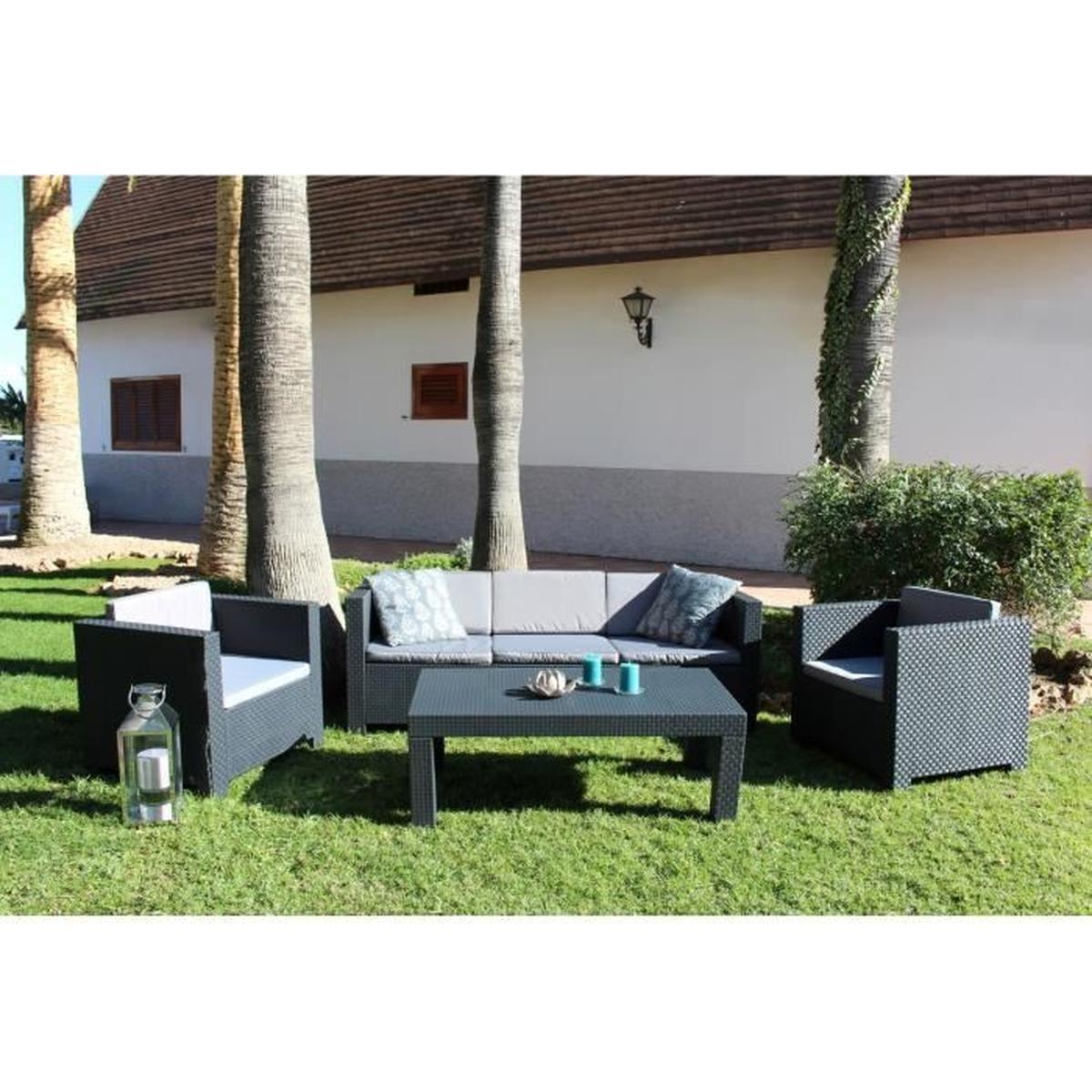 Tropea: Salon De Jardin 5 Places Effet Résine Tressée ... intérieur Cdiscount Table De Jardin