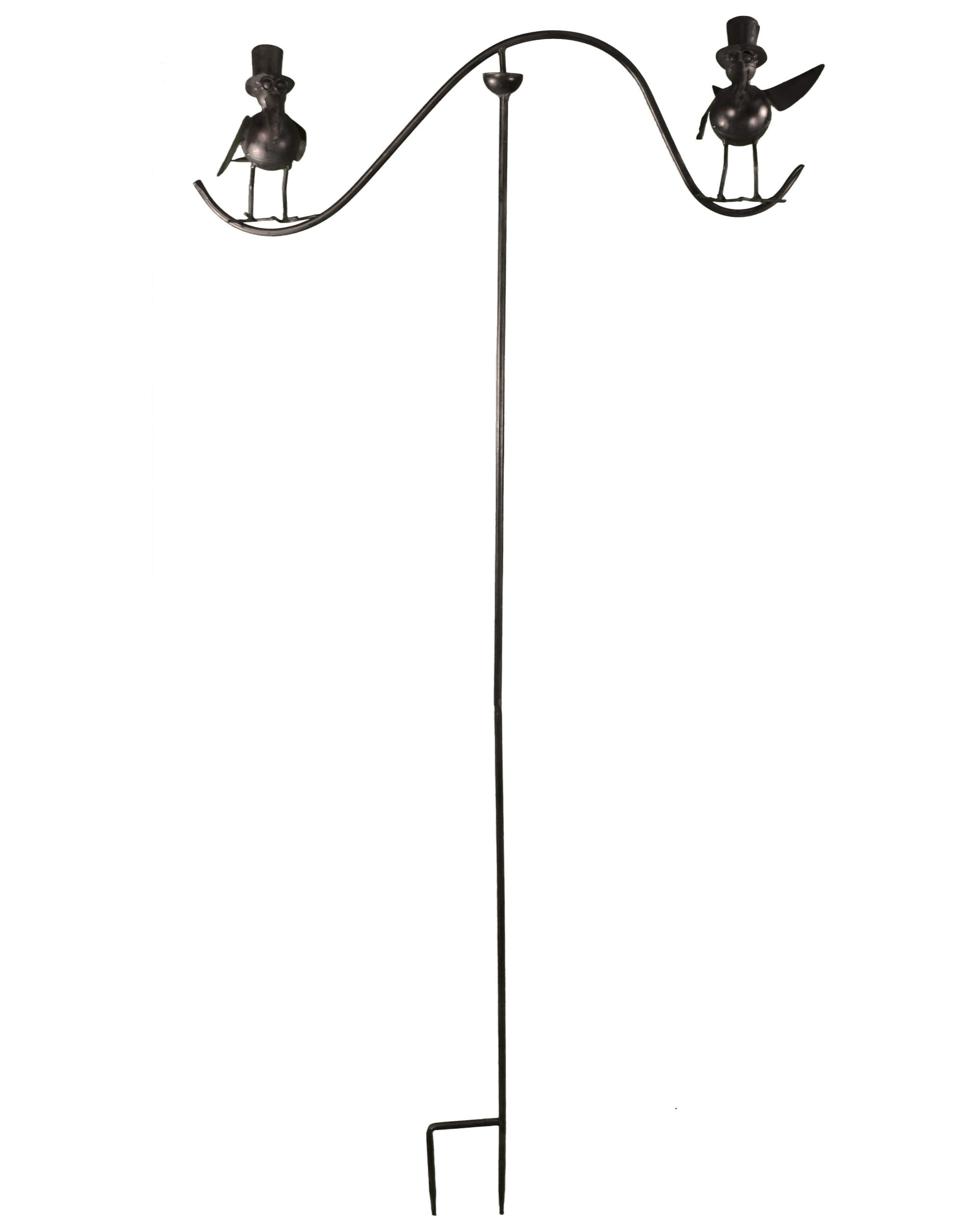 Tuteur Tige Pour Plantes Motifs Double Oiseaux Ou Mobile De Jardin Rotatif  À Planter En Fer Patiné Marron 62X62X139Cm à Mobile De Jardin En Fer