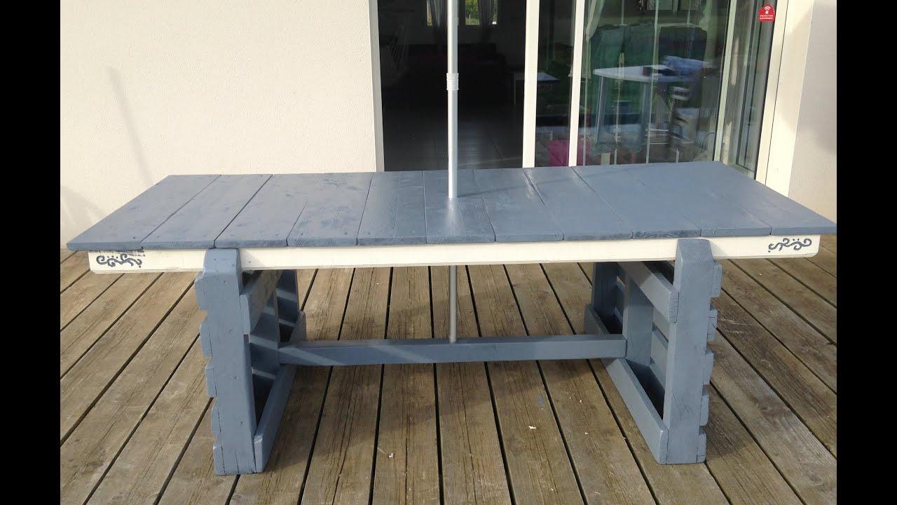 Tuto Création D'une Table De Jardin, Table D'exterieur Avec Palette Et Récup pour Plan Pour Fabriquer Une Table De Jardin En Bois