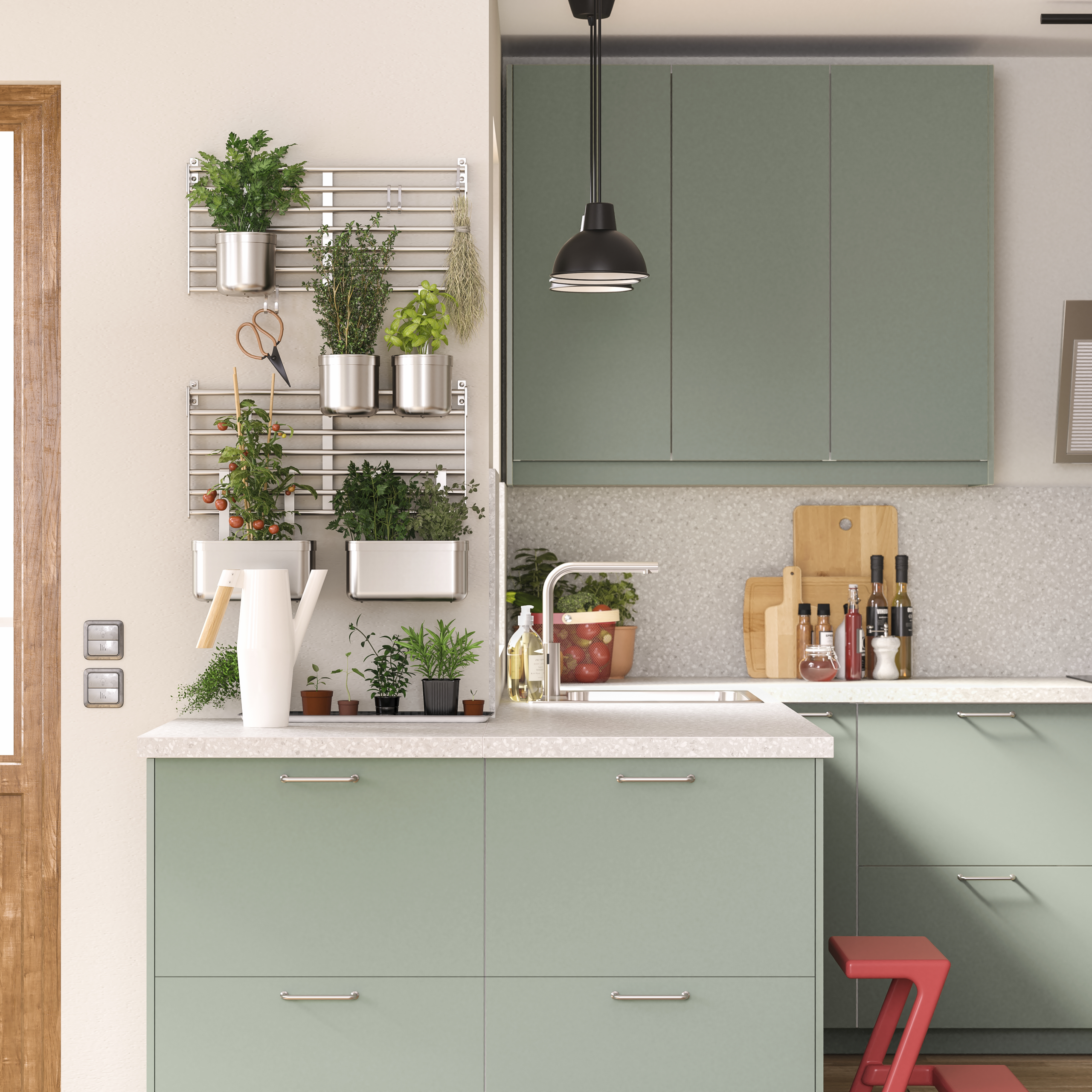 Une Cuisine Verte Et Responsable En 2020 | Cuisine Verte ... intérieur Robinet Jardin Design