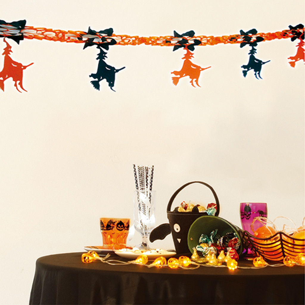 Us $0.83 48% Off|Halloween Paper Garland Baby Shower Kids Party Decoration  Hanging Bunting Banners String Streamer Flags Party Supplies#p7-In Party ... destiné Deco Jardin Halloween