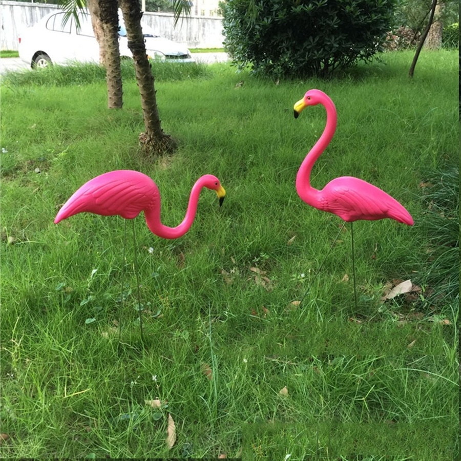 Us $114.0 5% Off|20Pcs/lot Plastic Flamingo Garden Decoration Yard Lawn Art  Ornament With Size46*55 And 33*75Cmcm|Flamingo Garden Decor|Garden ... tout Flamant Rose Jardin