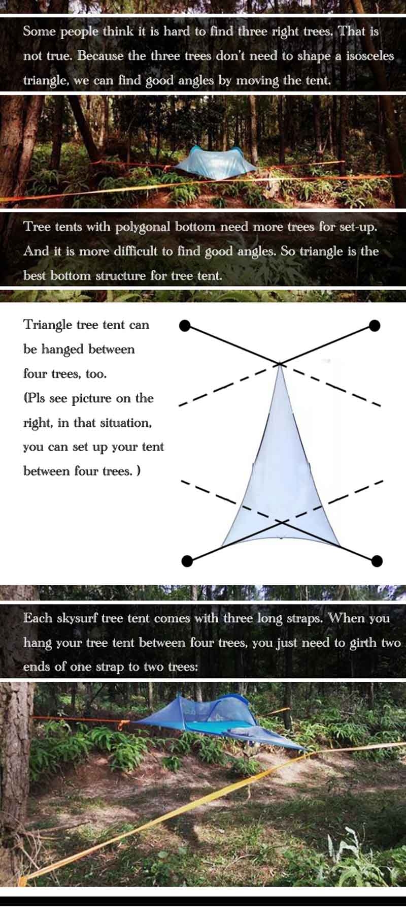Us $134.15 50% Off Single Person Hiking Traveling Tree Tent Outdoor Camping  Tree Hammock Bed Ultralight Multi Functional Three Trees Hanging ... intérieur Salon De Jardin D Angle Pas Cher