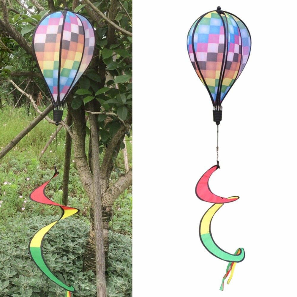 Us $6.71 28% Off|Summer Colorful Grid Windsock Hot Air Balloon Wind Spinner  Garden Outdoors Spinner Yard Decorative Stakes Wind Spinners-In Decorative  ... dedans Moulin À Vent De Jardin